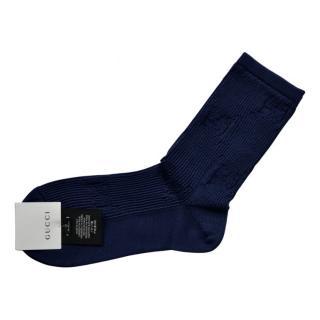 Gucci Blue Cotton GG Socks