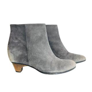 Maison Margiela Distressed Grey Suede Ankle Boots