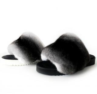 FurbySD Black & White Chinchilla Fur Slides