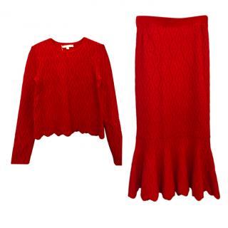 Jonathan Simkhai Red Diamond Knit Fluted Skirt & Top