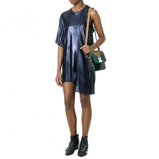 Golden Goose Metallic Blue One Shoulder Alexis Mini Dress