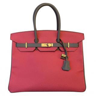 Hermes Special Order Rose Azalee & Gris Mouette Epsom Birkin 35 GHW