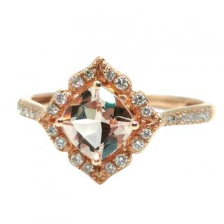 Bespoke 18ct Rose Gold Morganite & Diamond Ring