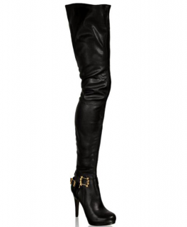 Anna Dello Russo x H&M Thigh High Black Leather Boots