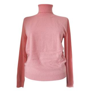 Max Mara Pink Cashmere & Wool Roll Neck Jumper