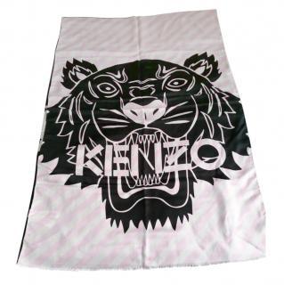 Kenzo Black/Pink Tiger Print Diagonal Stripe Scarf
