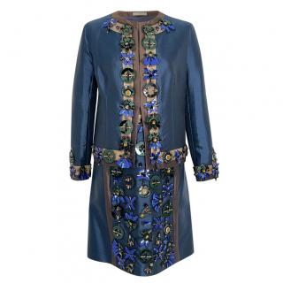 Prada Runway Navy Blue Embellished Jacket & Skirt Suit