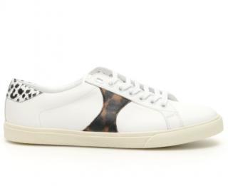 Celine White Animalier Detail Triomphe Sneakers