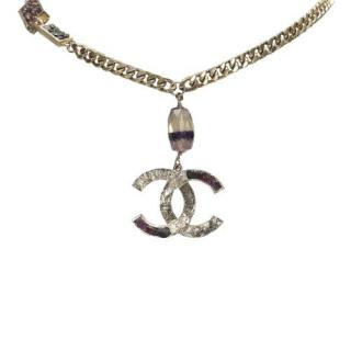 Chanel Purple/White Crystal Embellished CC Pendant Curb Chain Necklace