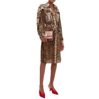 Burberry Costanza animal-print silk-crepe shirt dress