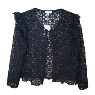 Claudie Pierlot Black Lace Ruffle Jacket