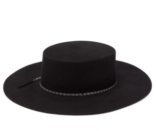 Gucci Black GG-ribbon felted wide-brim hat