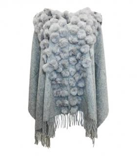 Bespoke Wool & Rabbit Fur Pom Pom Knit Cape