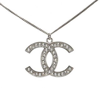 Chanel Silver Tone Crystal Embellished CC Necklace