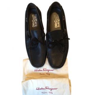 Ferragamo Black Leather Driving Loafers
