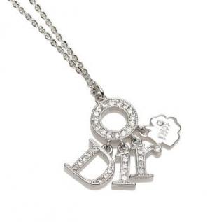 Dior Crystal Logo Silver Tone Pendant Necklace