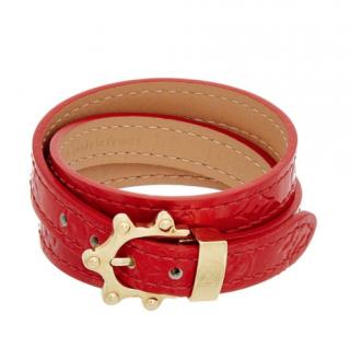 Louis Vuitton red triple tours monogram vernis bracelet