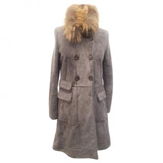 Brunello Cucinelli Suede Shearling Lined Coat with Fur High Collar