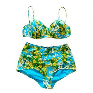 Dolce & Gabbana Blue Floral Print Balconette Bikini