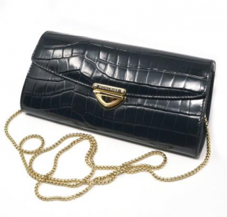 Moncrief Black Croc Embossed Clutch on Chain