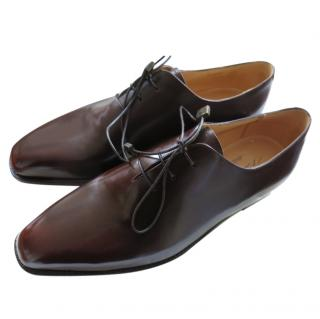 Silvano Lattanzi Brown Smooth Leather Handmade Oxfords