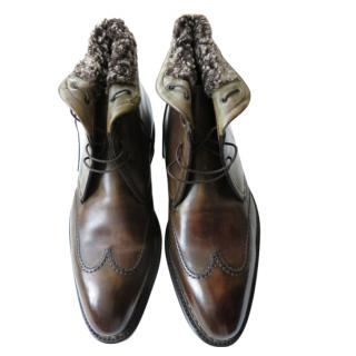 Santoni Handmade Olive Shearling Lined Leather Boots