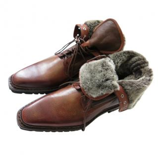Santoni Handmade Brown Shearling Lined Leather Boots