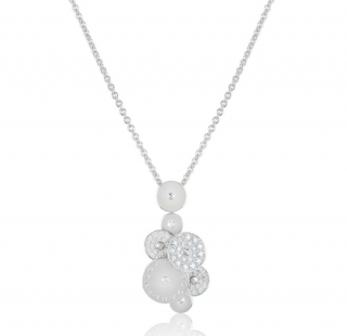 Bvlgari White Gold Diamond Circles Pendant Necklace
