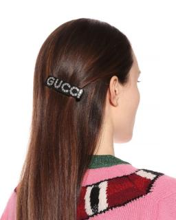 Gucci Black Crystal Embellished Hair Barrette