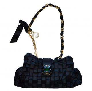 Lanvin Black Woven Satin Runway Crystal Bag