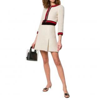 Chanel Runway Ivory Red & Black Tweed Jacket & Skirt
