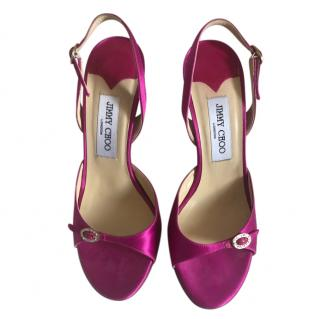 JImmy Choo Fuchsia Sandals with Crystal Buckle