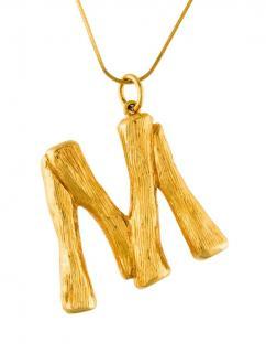 Celine Gold Tone Alphabet Pendant - Letter M