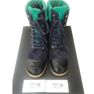Chanel Blue & Green Suede/Velvet/Leather Lace-Up Boots