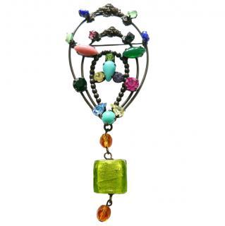 Missoni Crystal Embellished Glass Vintage XL Brooch