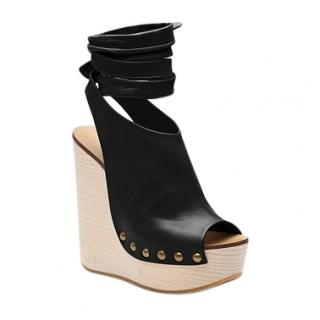 Chloe Black Lambskin Penelope Wedge Sandals