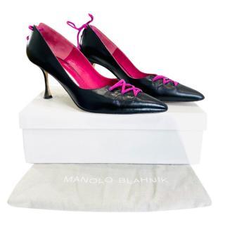 Manolo Blahnik Lace-Up Leather Pumps