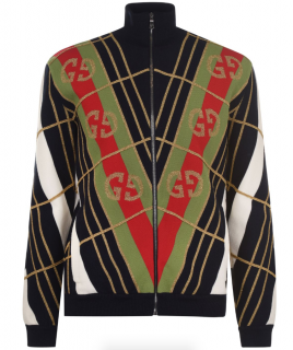 Gucci Metallic Detailed GG Print Zip Cardigan