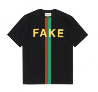 Gucci Men's Black 'fake/not' Print Oversize T-shirt