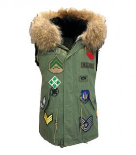 Jane & Tash Rabbit & Racoon Fur Khaki Hooded Jacket