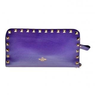 Valentino Purple Leather Rockstud Wallet/Wristlet