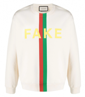 Gucci Cream Fake/Not-print sweatshirt