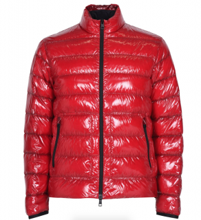 Moncler Mens Red Laque Glossy Zip Jacket