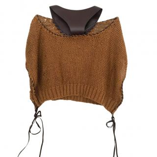 Alberta Ferretti Leather Neck Woven Tan Jumper
