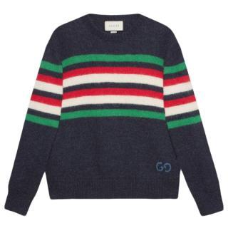 Gucci Blue GG-detail striped jumper
