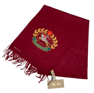 Burberry Burgundy Embroidered Cashmere Scarf