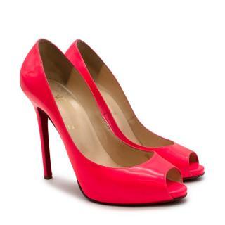 Christian Louboutin Neon Pink Leather Peep Toe Pumps