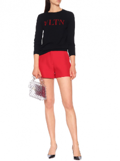 VALENTINO Vltn Wool And Cashmere Intarsia Sweater In Black