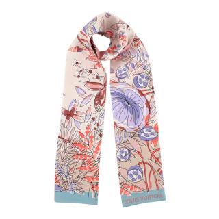 Louis Vuitton Silk Pink Floral Print & Monogram Bandeau