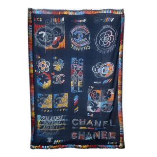 Chanel Navy CC Logo & Camellia Sketch Print Cashmere Shawl